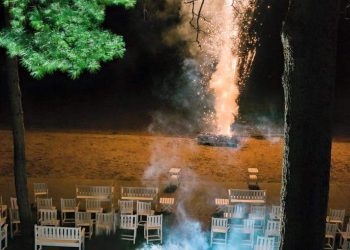 spider lake wedding with fireworks